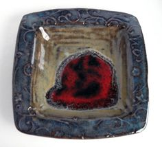Square ceramic dish, Pottery key holder, Decorative stoneware tray on Etsy, $14.00