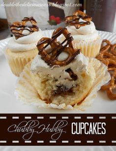 Chubby Hubby Cupcakes @ Double the Deliciousness #cupcakes #cupcakerecipes #sweet #food #delicious #yummy #desserts #cupcake #cupcakedecoration #cupcakeideas #dessertrecipes