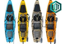 Fishing pedal fin drive kayak from Leisure kayaks in Sky Blue, Banana Yellow, Sand Camo and Mango Orange colors. Sit on top pedal fin drive kayak for fishing in lakes and sea. Pedal Kayak, Blue Banana, Sit On Top, Kayaks, Kayak Fishing, Lakes, Sling Backpack, Orange Color, Camo