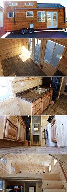 A 24' tiny house on wheels featuring cedar lap siding with a clear coat finish, a 20' electric awning, and french doors. Total price as shown: $45,000.