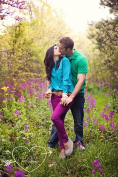 Engagement photo ideas pose jewel tones clothing options  by Cherie Hogan Photography