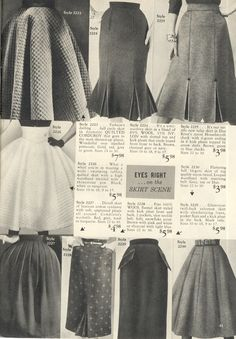 All kinds of marvelous 1950s skirt styles from Lana Lobell. #vintage #1950s #catalogs #skirts