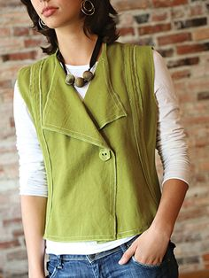 Simple and modern vest for wearing anywhere! Styled with subtle shaping, this vest is flattering on every body type! Only 4 pattern pieces combine with an