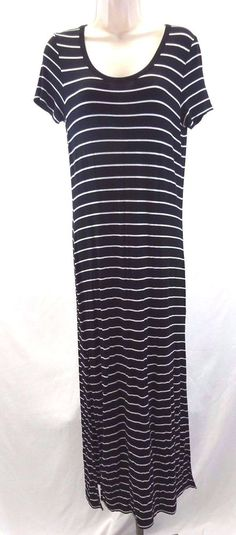 Michael by Michael Kors Maxi Dress Black White Striped Long Women's Small #MichaelKors #Maxi