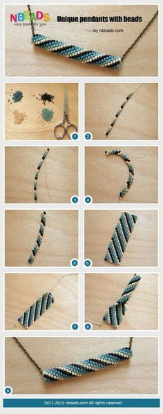"""ake this 8 or 9 inches long, sew into a circle, then """"zip"""" for a bracelet. Best if only 5 beads wide."""