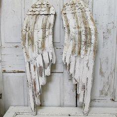 Painted angel wings wall hanging wood metal by AnitaSperoDesign