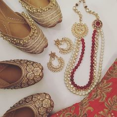 Outfit inspo! — Check out our range of gold Juttis which are all lined with extra cushioning. The Golden Heiress Jutti and Maharani Jutti are £38 and £40. The Ruby Rani Haar set is £120 and includes delivery. It is made with pearls, Kundan and semi precious stones. Shop online now at www.Tyche-London.com