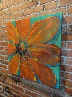 Orange Flower, Floral painting, Original Painting Big Orange Flower 24 x 24 on Etsy, $125.00