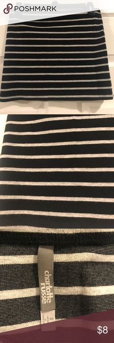 Striped Body Con Skirt A cute black and grey striped body con mini skirt from Charlotte Russe! In great condition. Charlotte Russe Skirts Mini
