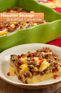This easy breakfast recipe for Hawaiian Sausage Breakfast Casserole is the perfect new recipe for breakfast or dinner! Breakfast Sausage Recipes, Paleo Breakfast, Breakfast Dishes, Best Breakfast, Brunch Recipes, Dinner Recipes, Dinner Ideas, Breakfast Casserole Sausage, Breakfast Burritos