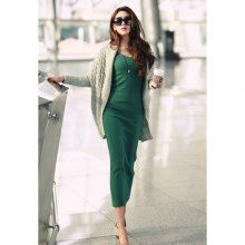 Elegant Style V-Neck Long Sleeves Solid Color Slimming Fit Knitted Women's Dress