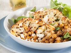 Roast Cauliflower with Chick Pea Salad Veggie Recipes, Salad Recipes, Healthy Recipes, Easy Weekday Meals, Chickpea Salad, Roasted Cauliflower, Tasty Dishes, Food Inspiration, Vegetables