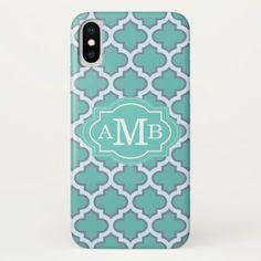 Elegant Teal Quatrefoil Pattern Custom Monogram iPhone X Case - elegant gifts gift ideas custom presents