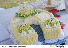 Svatební dort podkova Camembert Cheese, Cake Recipes, Cooking Recipes, Birthday Cake, Cake Toppers, Cakes, Birthday Cakes, Cooker Recipes, Cake Birthday
