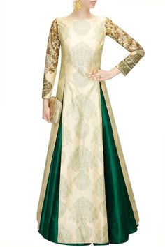 Beige printed floral embroidered kurta available only at Pernia's Pop-Up Shop.