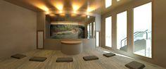 Levantamiento 3d de complejo vacacional turistico. Sala de yoga