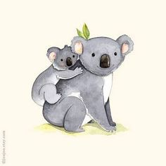 kids room art Alphabet animals Watercolor painting Koala print Mother and Easy Watercolor, Watercolor Animals, Watercolor Paintings, Illustration Koala, Watercolor Illustration, Cute Drawings, Animal Drawings, Koala Baby, Baby Otters