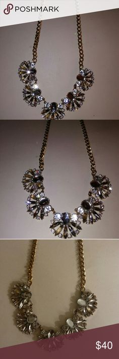 Gold tone rhinestone necklace Large chain length rhinestone collar necklace. Clear rhinestones fan detail 16 inches Jewelry