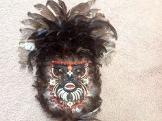 Exotic Wooden Mask Wall Hanging with bones feathers