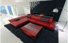 Ledersofa schwarz modern  Designer Ledersofa MONZA L Form in schwarz-orange - Exklusiv bei ...