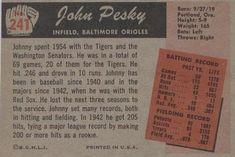 1955 Bowman #241 Johnny Pesky Back