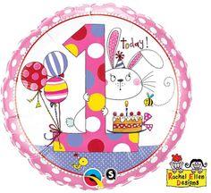 """Balon foliowy 18"""" (ok. 46 cm) z dwustronnym nadrukiem cyferka 1. Doskonała dekoracja na roczek dla dziewczynki."""