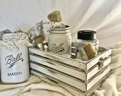 Wood Crate: white chalk paint distressed, solid wood crate. custom colors and sizes. Available with or without handles. Comes with 2 FREE shabby painted mason holders to match!