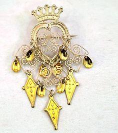 Vintage Solje .830 Silver Norwegian Wedding Crown Filigree Brooch