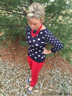 Navy Polka Dot sweater with red jeans outfit. My style!