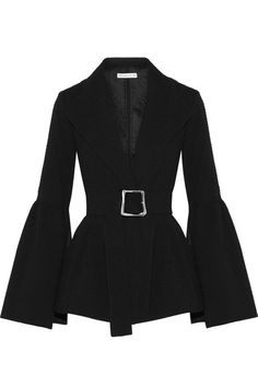 Rejina Pyo's collections are loved for their pared-back elegance. Crafted from lightly structured cloqué, this black 'Claire' blazer is cut in a flattering peplum silhouette that's emphasized by the waist-cinching belt and echoed in the exaggerated bell sleeves. Wear yours with relaxed tailoring, like the label's
