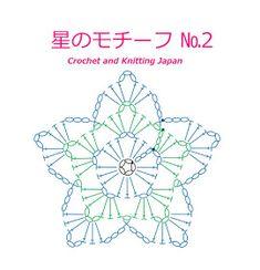 かぎ針編み:星のモチーフ の編み方 Crochet Star Motif / Crochet and Knitting Japan Motif Mandala Crochet, Crochet Snowflake Pattern, Crochet Symbols, Crochet Mandala Pattern, Crochet Stars, Crochet Snowflakes, Crochet Diagram, Crochet Stitches Patterns, Crochet Doilies