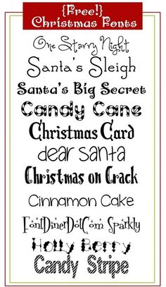 Christmas Fonts - Click image to find more DIY & Crafts Pinterest pins