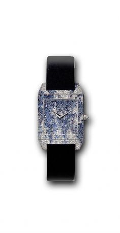 Jaeger-LeCoultre  The Reverso Squadra Art Ice is an authentic masterpiece from Jaeger-LeCoultre. The snow-setting technique plays on the size and positioning of each gem, and the metal disappears completely beneath the diamonds, making them look like a sheet of ice.