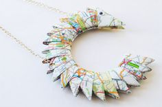 Personalised reversible map necklace upcycled & bespoke, multi coloured, creative design, a terrific gift idea £20