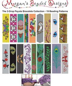 Collection: 19 2-Drop Peyote Bracelets Patterns by Megan's Beaded Designs
