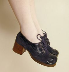 Vintage 60s 70s Blue Suede Shoes / Lace Up by BasyaBerkman on Etsy, $60.00