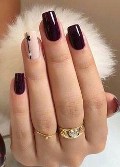 Magnífico borgoña diseños de uñas para el invierno
