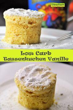 Low Carb Vanille Tassenkuchen selber machen in der Mikrowelle (3 Minuten Kuchen): Dieser Vanille Tassenkuchen ohne Mehl und ohne Zucker ist in nur 3 Minuten zubereitet und wird in der Mikrowelle gebacken. Ein schneller Kuchen, super lecker und mit Gelinggarantie! Was will man mehr?