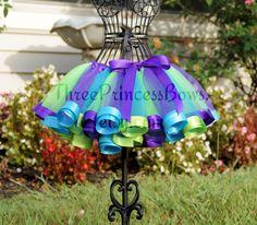 Stunning Peacock  Satin Ribbon Trim Tutu by ThreePrincessBows, $45.00