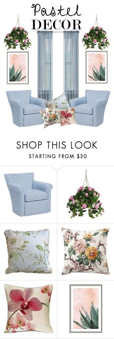 """""""Pastel Floral"""" by dljaques ❤ liked on Polyvore featuring interior, interiors, interior design, home, home decor, interior decorating, Nearly Natural, Pottery Barn, Pillow Decor and Art Addiction"""