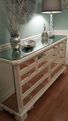 Mirrored Dresser White with Trim, Glamorous 10 drawer shabby chic mirror dresser chalk painted with silver glass knobs