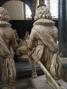 Mourners from the Downes Monument, Wroxton, Oxfordshire. ca. 1620. A spectacular sword hanger.