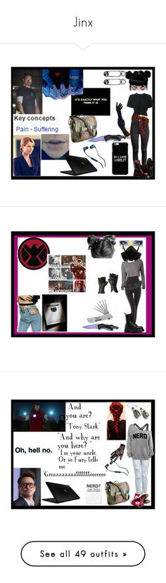 """""""Jinx"""" by thin-mint on Polyvore featuring T By Alexander Wang, Marvel, Jeanne Simmons, H&M, Faith Connexion, Razer, Handle, Skullcandy, WithChic and Halston"""