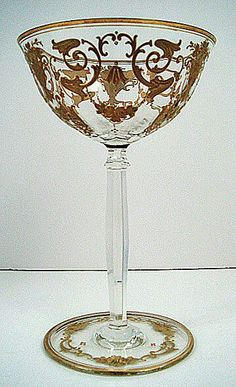Glasses to Drink in Style Antique Bohemian enameled crystal champagne glass.