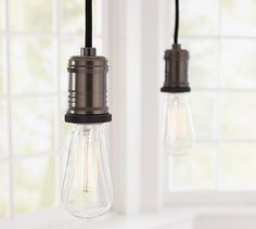 Exposed Bulb Pendant Track Lighting #potterybarn need the 3 light one for the stove area