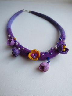 Felt necklace Unusual jewelry OOAK Textile jewelry Felt wool