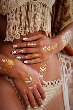 Gold Tattoos, Gold Temporary Tattoo Jewelry by ShimmerTatts Metallic Tattoos