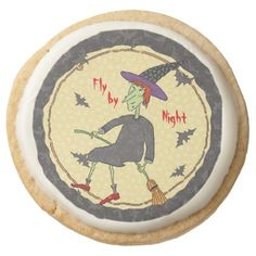Fly By Night Witch Round Shortbread Cookie - halloween decor diy cyo personalize unique party