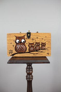60s Owl Purse . Enid Collins . Wooden Box . by snootieseconds, $149.99