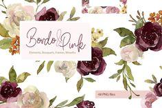 Burgundy Flowers, Blush Flowers, Wreath Watercolor, Watercolor Flowers, Golden Decor, Rose Clipart, Graphic Illustration, Illustrations, Graphic Art